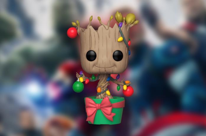 Il Funko POP! di Baby Groot in versione natalizia