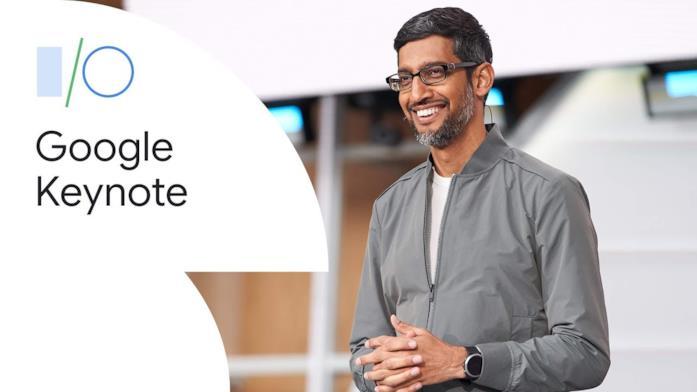Sundar Pichai (destra) al keynote della conferenza Google I/O 2019