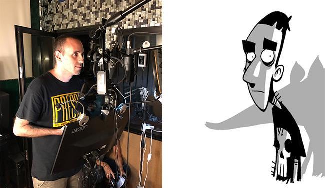 Zerocalcare in studio di doppiaggio a fianco della sua versione a fumetti