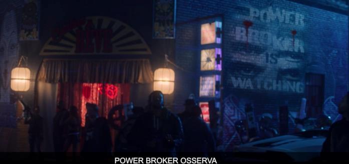 """La scritta """"Power Broker osserva"""""""