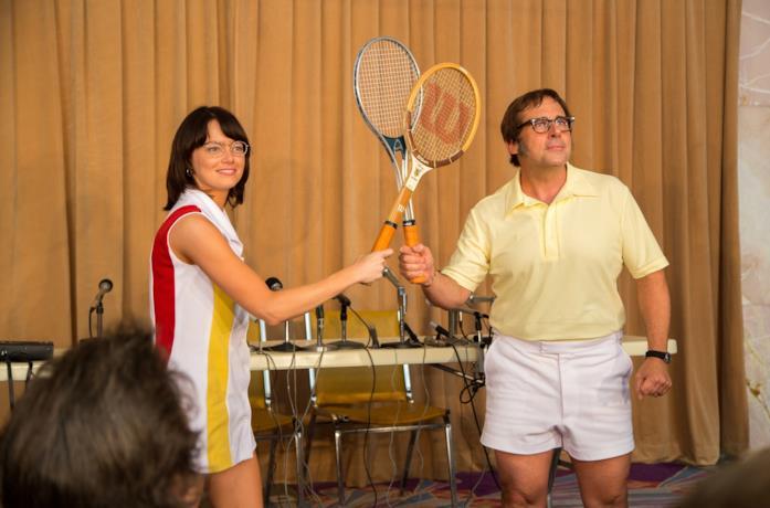 Emma Stone e Steve Carell in una scena del film La battaglia dei sessi
