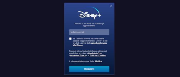 Il modulo per iscriversi alla newsletter di Disney+ Italia