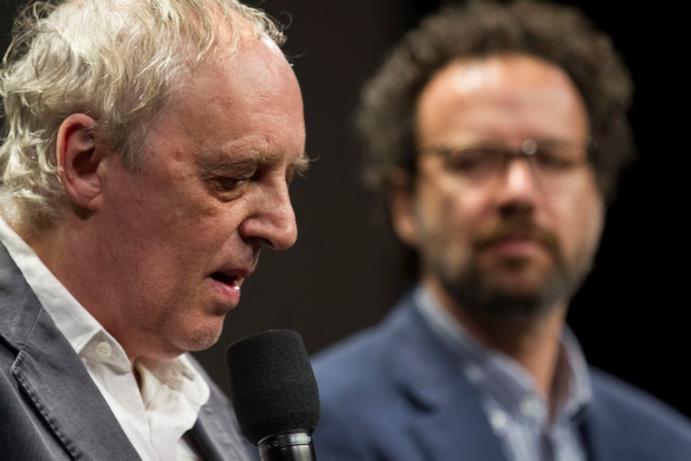 Dario Argento e Carlo Chartian alla proiezione in ricordo di Romero a Locarno 70