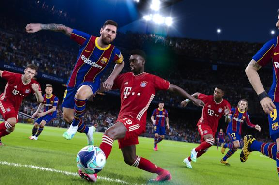 Messi in dribbling in una immagine promozionale di PES 2021