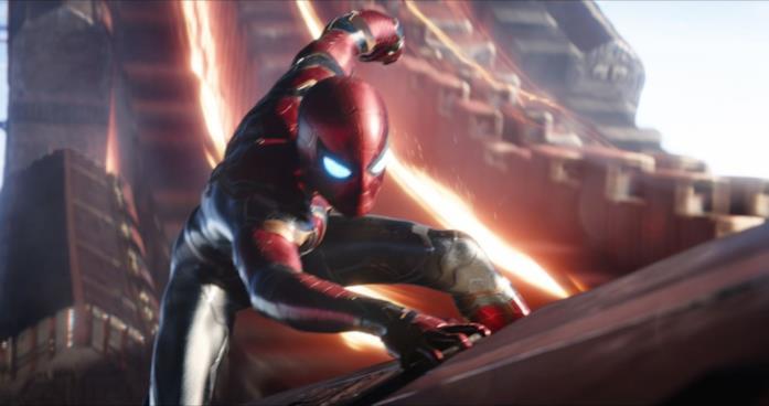 Spider-Man in una sequenza di Avengers: Infinity War