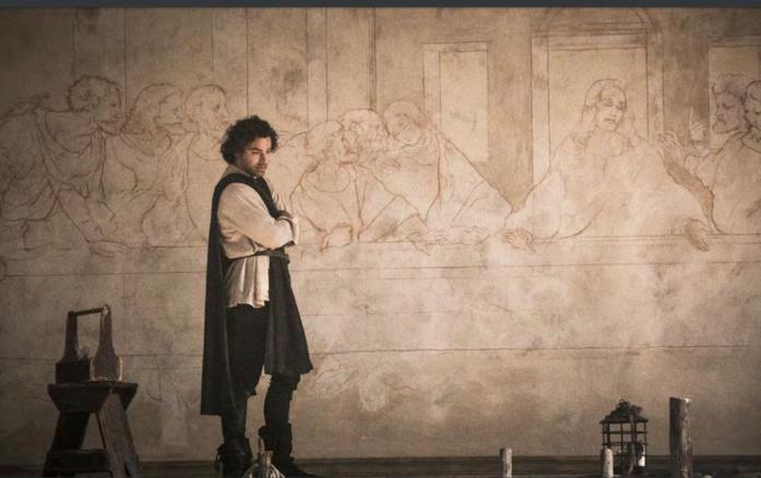 Aidan Turner è Leonardo da Vinci in una scena dalla fiction Rai