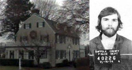Due scatti che mostrano la casa di Amityville e Ronald DeFeo Jr.