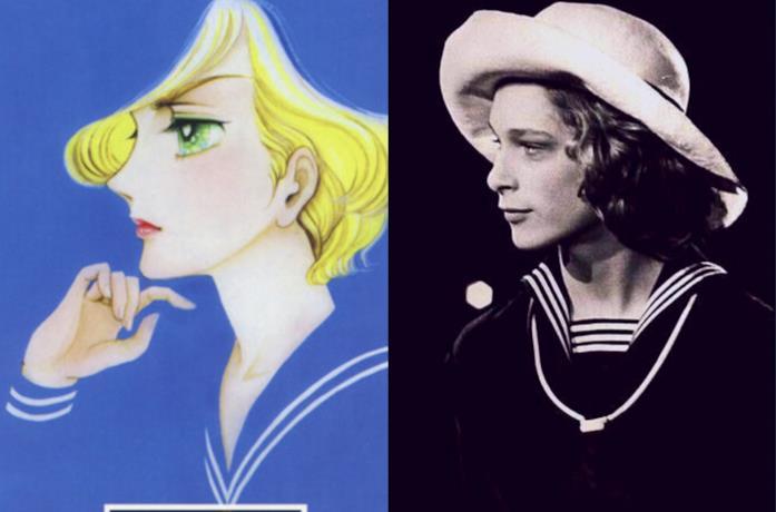Una comparazione tra un'illustrazione del manga Il poema del vento e degli alberi e una foto di Tadzio