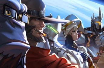 Alcuni degli eroi giocabili di Overwatch in un artwork ufficiale