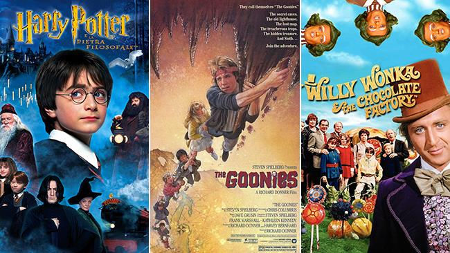 Le locandine dei film Harry Potter, I Goonies e Willy Wonka e la Fabbrica di Cioccolato