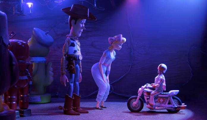 Woody e Boe Peep in Toy Story 4
