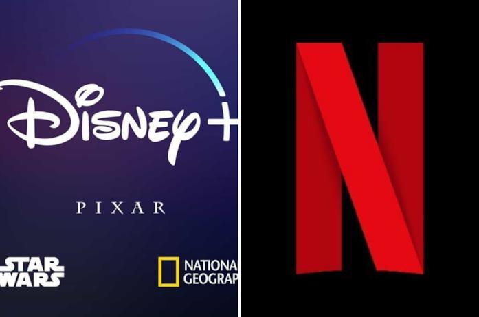 A sinistra il logo Disney+ e a destra quello di Netflix