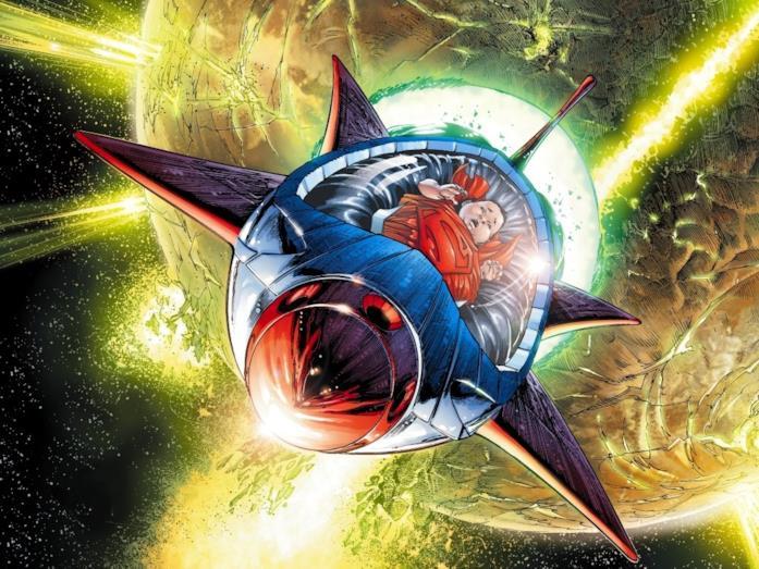 Neonato in un razzo in fuga, mentre il pianeta Krypton esplode sullo sfondo