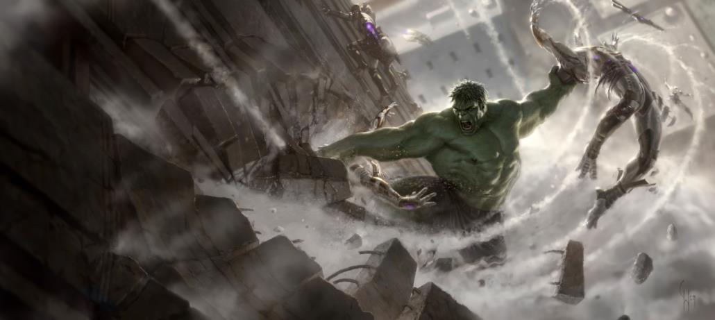 Hulk distrugge i Chitauri con la sua forza bruta
