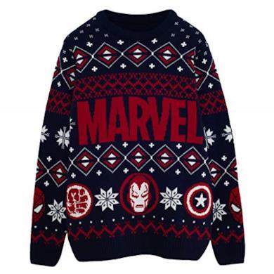 Marvel Comics Eroe Icone Knitted Jumper Uomo Marina Militare XS | Natale Jumper Ugly Sweater Fair Isle Natale Idee Regalo Abbigliamento Uomo