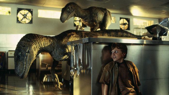 Sam Neill in scena col T-Rex