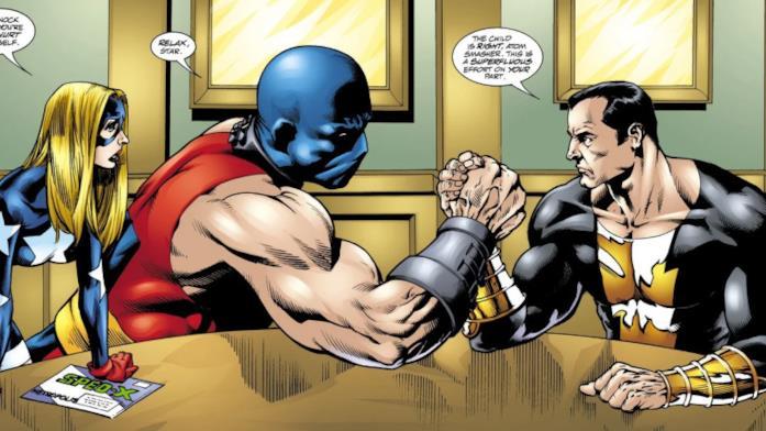 Black Adam e Atom Smasher fanno braccio di ferro