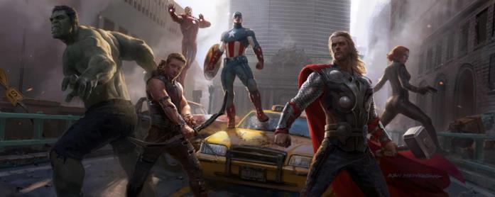 Hulk, Thor, Cap, Iron Man, Vedova Nera e Clint Barton