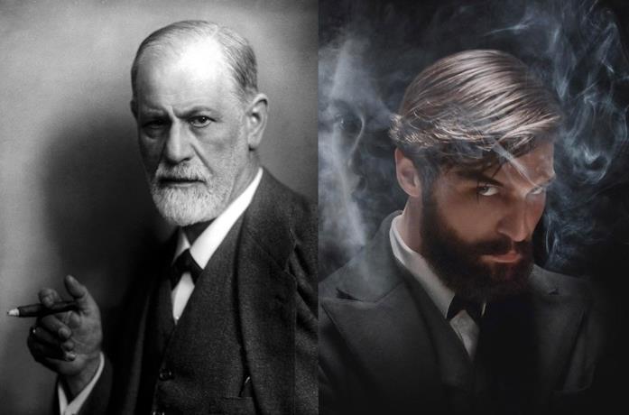 Freud in una foto del 1922 e il protagonista della serie Netflix circondato dal fumo del sigaro