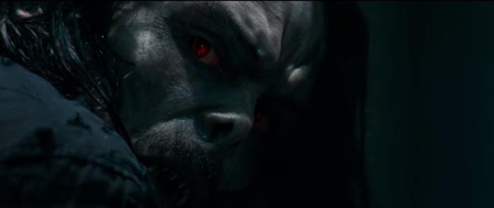 Primo piano di Morbius nel primo trailer dell'omonimo cinecomic