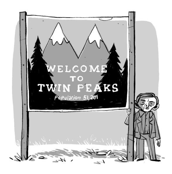 Il celebre cartello posto all'entrata della cittadina di Twin Peaks