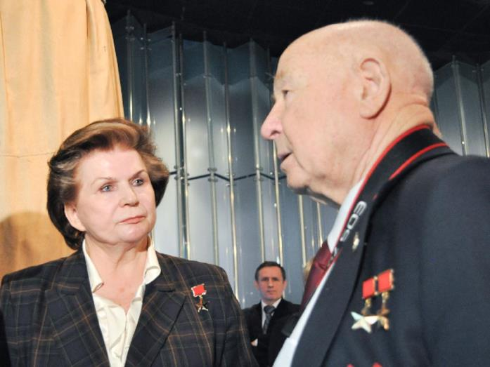 I cosmonauti Valentina Vladimirovna Tereškova e Aleksey Leonov
