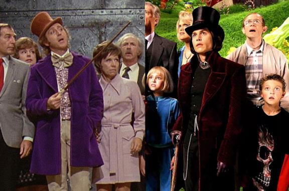 Gene Wilder e Johnny Depp nei panni di Willy Wonka