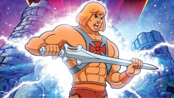Un primo piano di He-Man nell'intro della serie animata Masters of the Universe