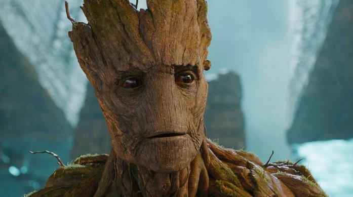Un primo piano di Groot in Guardiani della Galassia