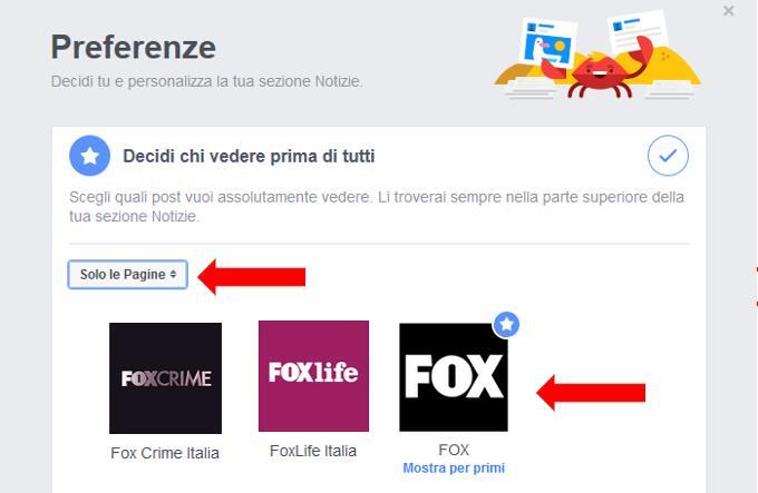 Terzo passaggio del secondo modo per attivare Pagine Preferite su Facebook: selezionare le Pagine desiderate