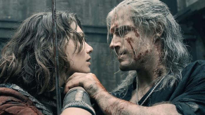 Geralt e Renfri nel primo episodio di The Witcher