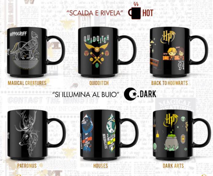 Le sei tazze Harry Potter della collezione Esselunga: 3 Dark e 3 Hot