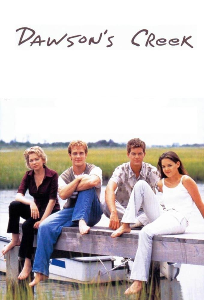 Michelle Williams, James Van Der Beek, Joshua Jackson, Katie Holmes nel poster di Dawson's Creek