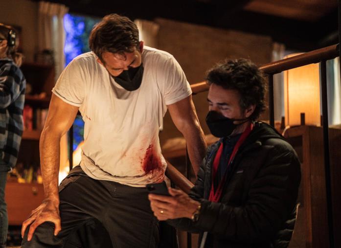 Una foto dei protagonisti durante le riprese di The Adam Project