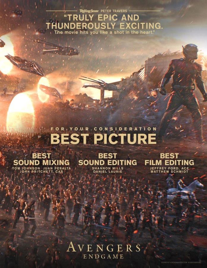 Il poster di Avengers: Endgame per gareggiare ai prossimi Oscar
