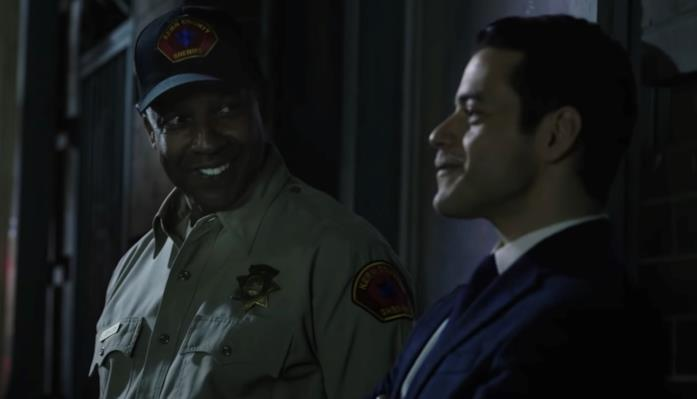 Denzel Washington e Rami Malek in una scena di Fino all'ultimo indizio