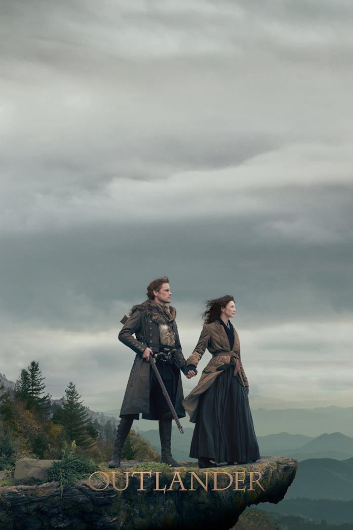 Sam Heughan e Caitriona Balfe nella locandina di Outlander