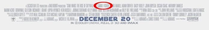 Il nome di Carrie Fisher in evidenza sul poster del film Star Wars: L'ascesa di Skywalker