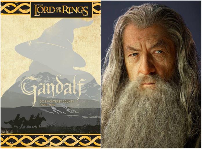 L'etichetta del vino ispirato a Gandalf