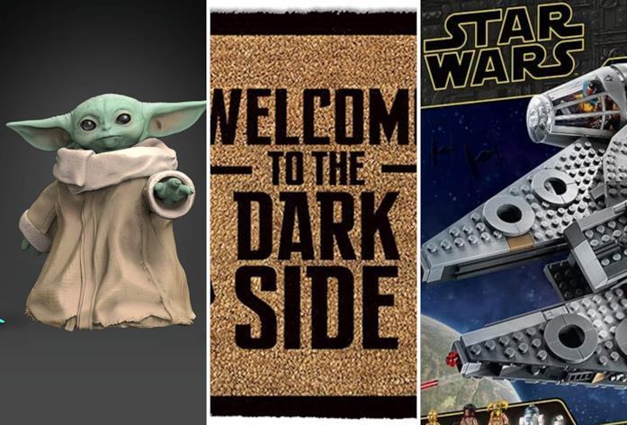 Da sinistra il Bambino di The Mandalorian, la scritta 'Benvenuti nel Lato Oscuro' e un LEGO