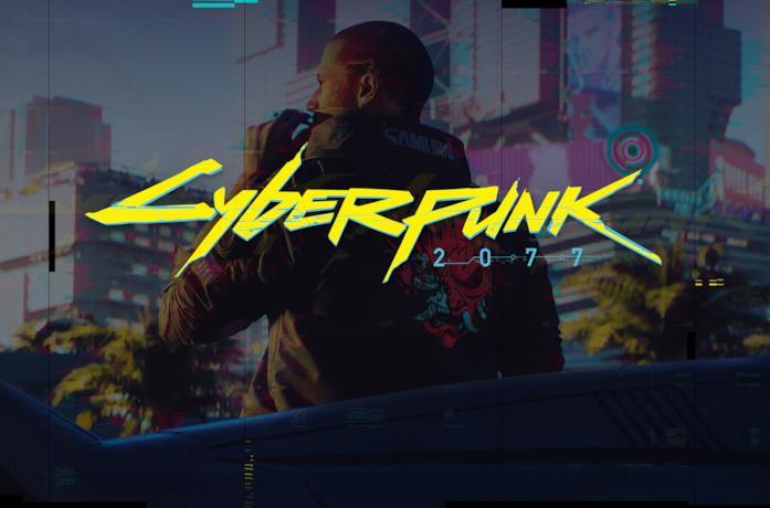 Poster promozionale di Cyberpunk 2077, in primo piano il logo del videogioco