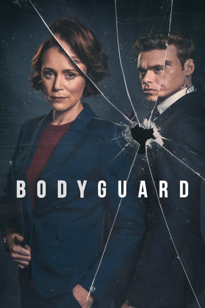 Primo piano di Keeley Hawes e Richard Madden nel poster di Bodyguard
