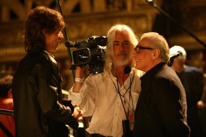 Mick Jagger, Robert Richardson e Martin Scorsese durante le riprese di Shine a Light