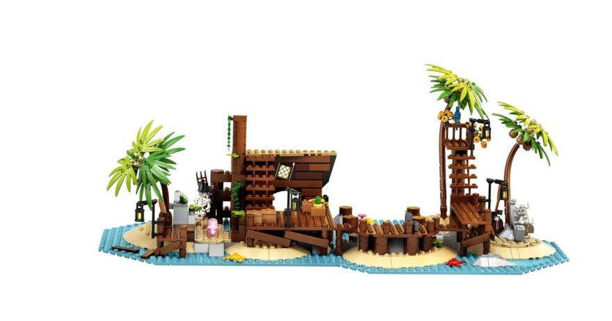 Una panoramica dell'isolotto del set LEGO I pirati di Barracuda Bay