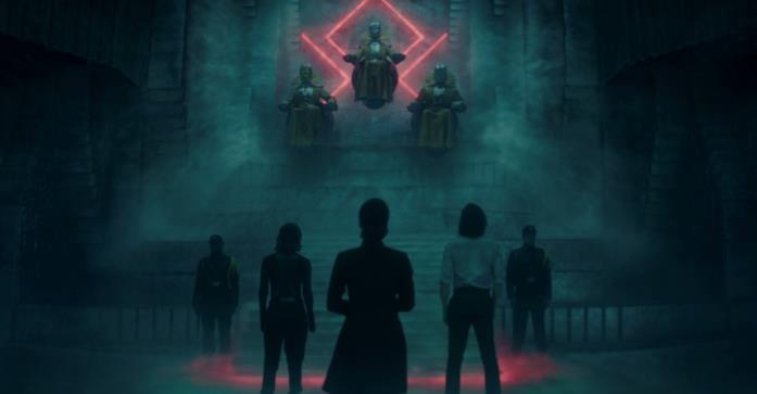 I protagonisti di Loki al cospetto dei Custodi del Tempo