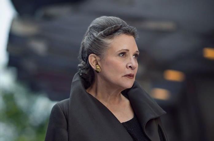 Leia (Carrie Fisher) in una scena di Star Wars episodio VIII