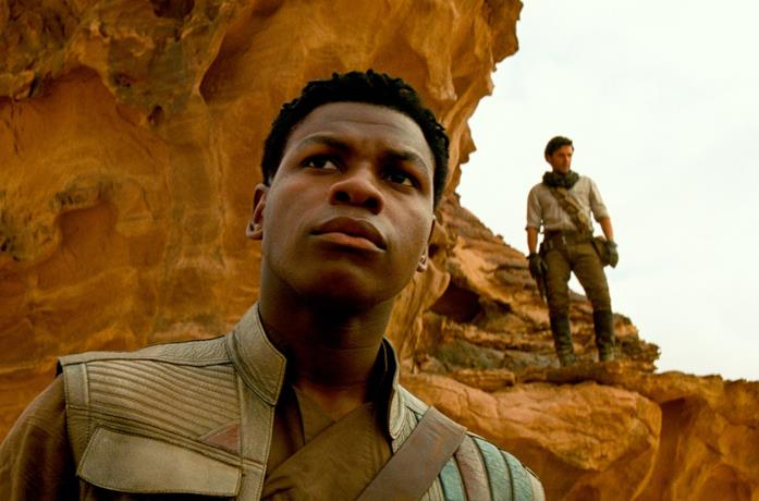 Primo piano di Finn (John Boyega) nel trailer di Star Wars: L'Ascesa di Skywalker