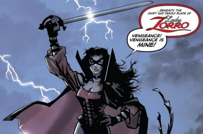 Un'immagine del fumetto di Lady Zorro