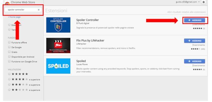 Tutorial su come effettuare il download dell'estensione per Chrome di Spoiler Controller