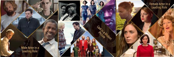 Alcuni dei nominati ai SAG Awards 2017 nelle categorie cinematografiche